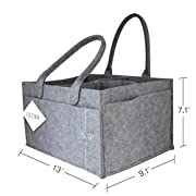 ZTUJO Baby Diaper Caddy - Car Organizer and Nursery Storage bin for Baby's Essentials with Changeable Compartments Large Grey