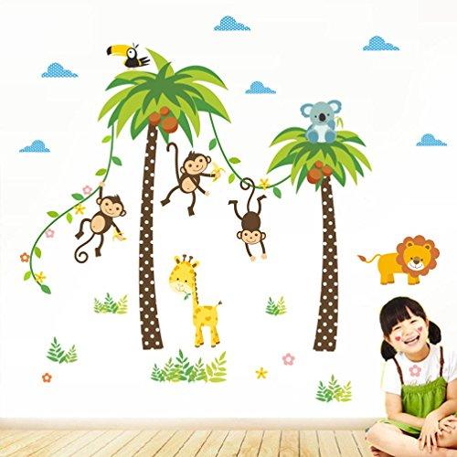 BIBITIME Nursery Animal Wall Decal 3 Monkeys Hanging Vines Under 2 Coconut Palm Trees Bird Koala Giraffe Lion Vinyl Sticker for Kids Room,DIY 46.45