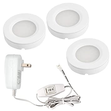 TORCHSTAR Set Of 3 Led Under Cabinet Lighting Kit 2Watt Warm White Led Puck  Lights