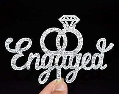 Engaged Cake Topper- Engagement Wedding Party Decorations (Silver)