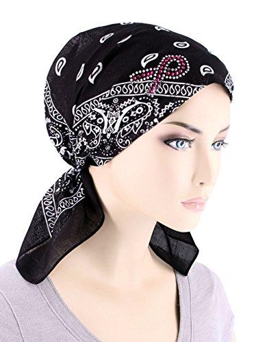 Paisley Bandana Scarf Pre Tied Breast Cancer Awareness Pink Ribbon Rhinestone Hat Cap (Breast Cancer Scarf)