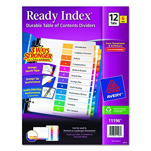 Avery Ready Index Table of Contents Dividers, 12-Tab Set, 6 Sets (11196) (12 Tab Index)