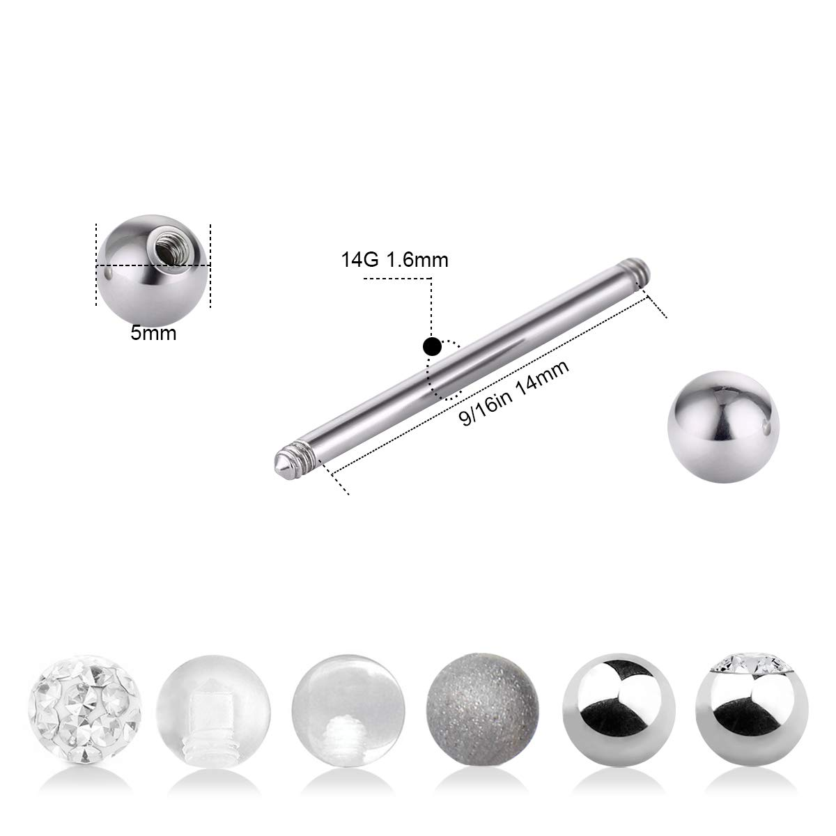 CrazyPiercing 12Pcs Stainless Steel Tongue Ring Barbell Retainer Nipplerings Body Piercing Jewelry 14G GYJ-TongueRing12P