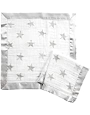 Aden By Aden And Anais Dusty Issie Muslin Security Blanket, Grey, White, Pack of 2