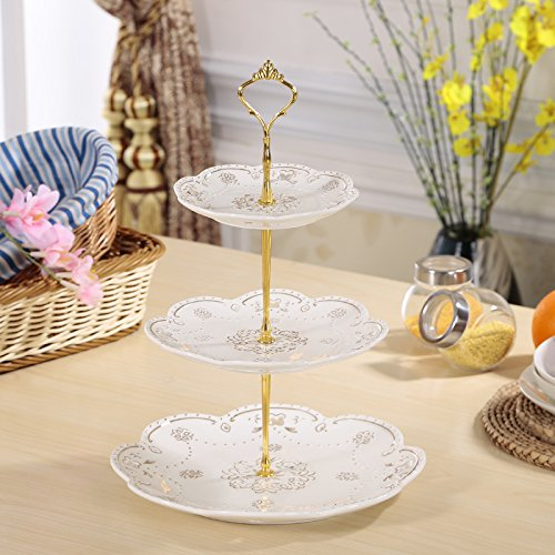 Jusalpha 3 Tier Porcelain Cake Stand Cupcake Stand