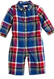 Ralph Lauren Baby Boys' Plaid-Print One - piece Coverall - size 9 Months-Royal Multi