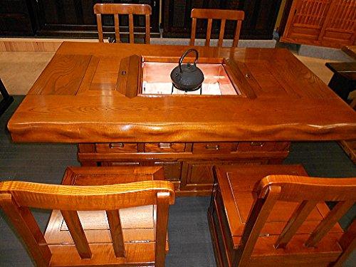欅(ケヤキ)天然無垢材 囲炉裏テーブル ダイニングセット 幅150cm 漆塗り仕上   B073PX5WF8