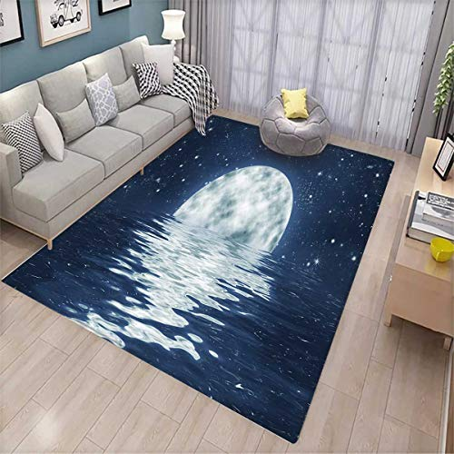 Table Adirondack End Blue (Moon Anti-Skid Rugs Moon Setting Over The Sea with Waves Night Sky with Stars End of The Evening Girls Rooms Kids Rooms Nursery Decor Mats Night Blue White)