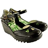 Womens Fly London Yuna Wedge Heel Sandals Ankle Strap Summer Work Shoes - Black - 9
