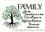 Wall Decor Plus More WDPM3597 Family Like Branches . Roots Remain As One Home Decor Lettering with Tree and Leaves Art Quote Wall Decals, 23 x 14'', Black/Lime Green