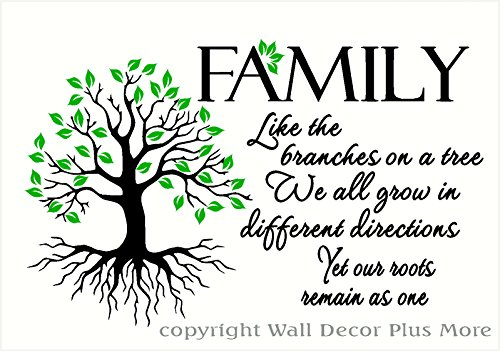 Wall Decor Plus More WDPM3597 Family Like Branches . Roots Remain As One Home Decor Lettering with Tree and Leaves Art Quote Wall Decals, 23 x 14'', Black/Lime Green by Wall Decor Plus More