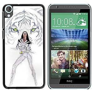 EJOY---Cubierta de la caja de protección la piel dura para el ** HTC Desire 820 ** --Tigre blanco Princesa