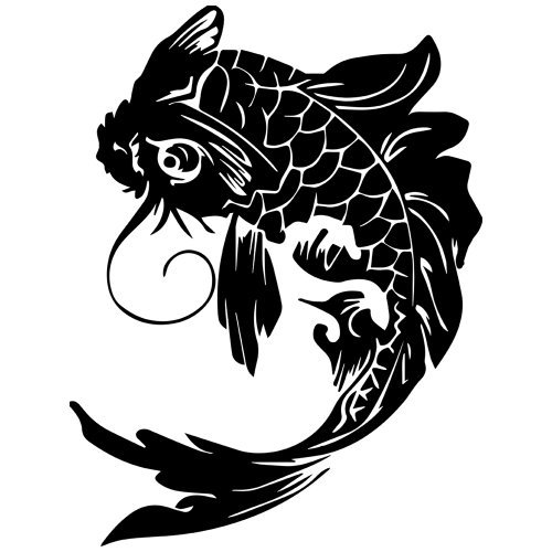 Set of 3 - Tribal Chinese Koi Fish Decal Sticker Color: Black- Peel and Stick Vinyl Sticker