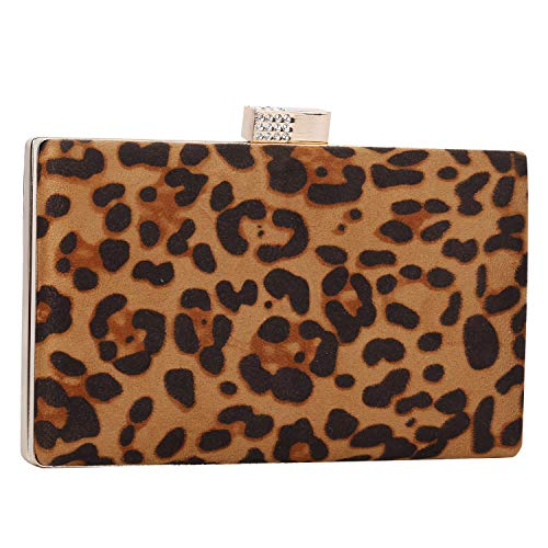 (iwish Womens Leopard Animal Print Box Clutch Purses For Everyday and Party)