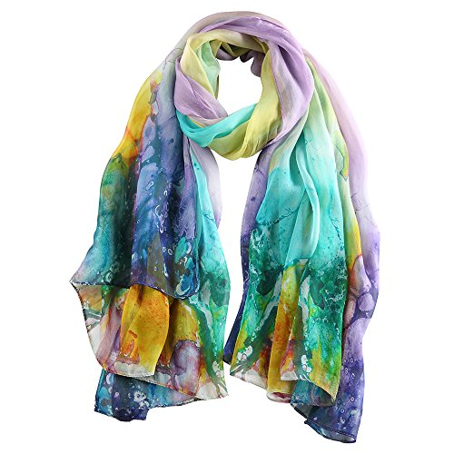 STORY OF SHANGHAI Womens 100% Mulberry Silk Head Scarf For Hair Ladies Silk Scarf Gift for Valentine