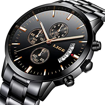 Watch,Men's Fashion Luxury Chronograph Sports Watches,Waterproof Analog Quartz Wrist Watch for Man Steel