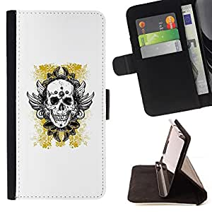BullDog Case - FOR/Samsung Galaxy Note 3 III / - / YELLOW GOLD BIKER INK TATTOO SKULL /- Monedero de cuero de la PU Llevar cubierta de la caja con el ID Credit Card Slots Flip funda de cuer
