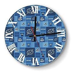 GHUET Creative Tampa-Bay-Lightning-Hockey-Blue-Plaid- Style Wall Clock Decorative Home Quiet Clock