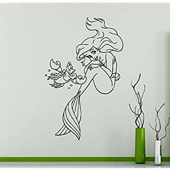 Princess Ariel Vinyl Decal Little Mermaid Wall Sticker Disney Cartoons Home  Interior Childrenu0027s Nursery Room Decor Part 58