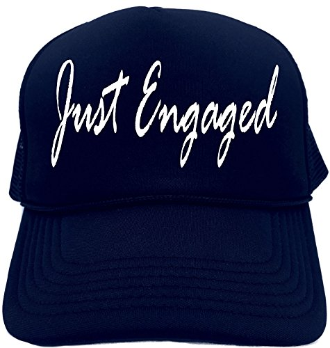 Signature Womens Hat - Funny Trucker Hat (JUST ENGAGED) Wedding Party Unisex Adult Foam Retro Cap