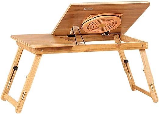 Dongy Mesa plegable Cama con Ventilador USB portátil de Escritorio con cajón de bambú de Altura Ajustable portátil Natural, 55x34cm: Amazon.es: Hogar