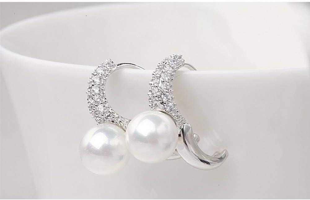 YLHJM Pendientes de Clip de Perlas de imitación Blancas para MujerCharm de Piedra de circonita cúbica