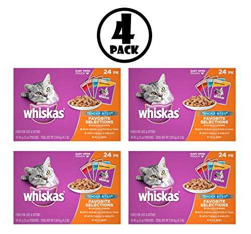 - Whiskas Tender Bites Favorite Selections Variety Pack Wet Cat Food, (24) 3 oz. Pouches, Pack of 4