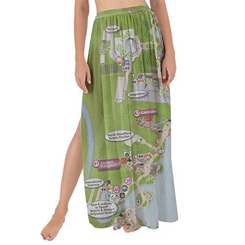 Queen of Cases Epcot Center Map Maxi Sarong Skirt - - Map Center Queens