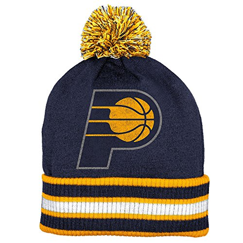 Indiana Pacers Double Sided Striped Cuff Pom Knit Beanie Hat / Cap