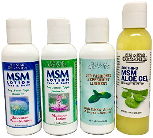 Healing MSM Lotion/gel 4-Pack (4oz) - Pure & Natural, Medicinal, Peppermint Liniment & Aloe Gel Sample Pack. Organic sulfur for Joint Pain, Healing tea tree oil & Soothing Aloe Vera