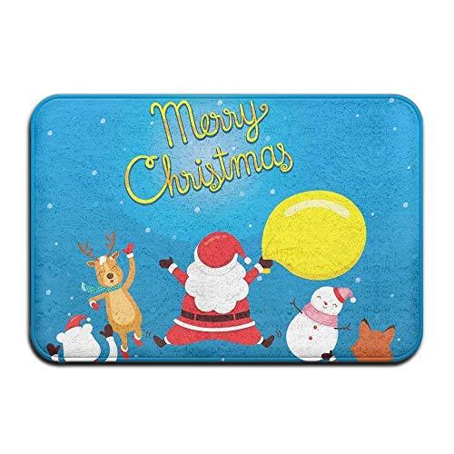 Santa Claus Reindeer Snowman and Friend Jumping Indoor Outdoor Entrance Printed Rug Floor Mats Shoe Scraper Doormat for Bathroom, Kitchen, Balcony, Etc 15.7 X 23.6 Inches