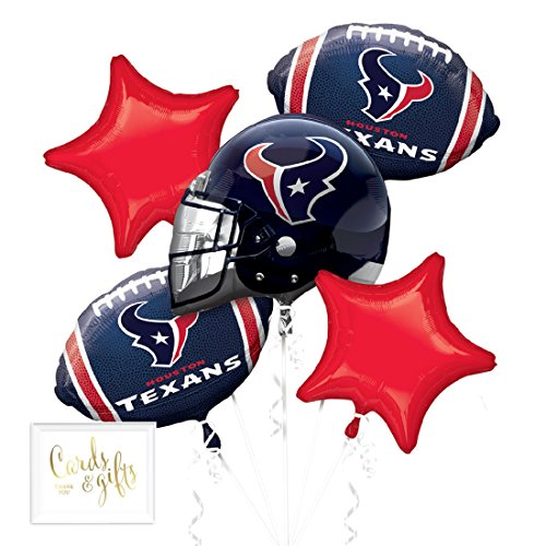 Andaz Press Balloon Bouquet Party Kit with Gold Cards & Gifts Sign, Texans Football Themed Foil Mylar Balloon Decorations, (Football Themed Wedding)
