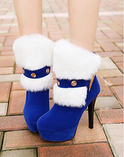 Round Blue Womens CHFSO Fur Platform Pull Toe Faux Boots On Stiletto Heel High Stylish XwqwFO