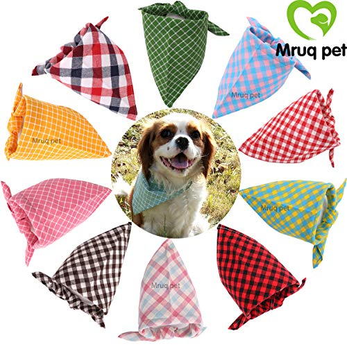 PCS/Pack Pet Puppy Dog Cat Bandanas Dog Classic Plaid Patterns Scarf for Small,Medium Size Dog,Large Cats (Spring&Summer Colors) ()