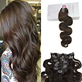 Bleaching Hair Is A Chemical Change - Moresoo 22 Inch Chocolate Brown Color Clip in Extensions Brazilian Hair 7 Pieces Body Wave Clip on Human Hair Extensions 120g Full Head Set