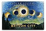 Lantern Press Bryson City, North Carolina - Starry Night - Solar Eclipse 2017 (12x18 Aluminum Wall Sign, Wall Decor Ready to Hang)