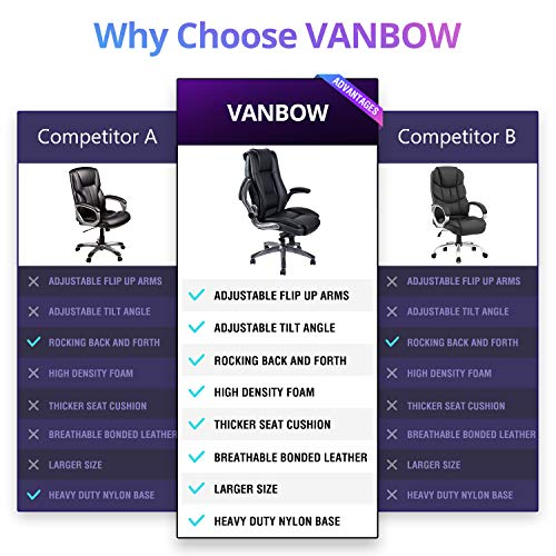 VANBOW High Back Leather Office Chair - Adjustable Tilt Angle and Flip-up Arms Executive Computer Desk Chair, Thick Padding for Comfort and Ergonomic Design for Lumbar Support, Black by VANBOW (Image #3)