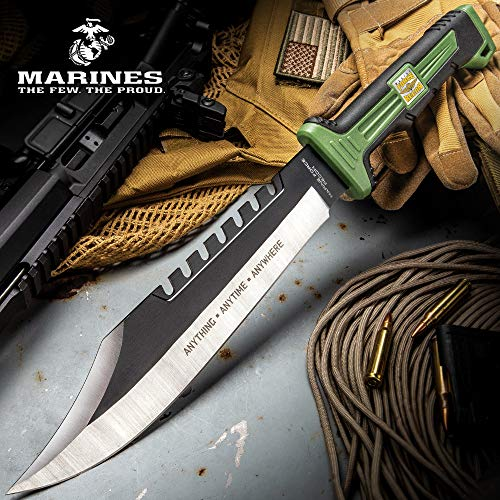 USMC Marine Force Recon Jungle Operator Bowie Knife and Sheath - Stainless Steel Blade, Sawback Serrations, Rubberized Handle - Length 15 1/2""