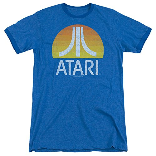 (Atari Sunrise Eroded Mens Adult Heather Ringer Shirt Royal Sm)