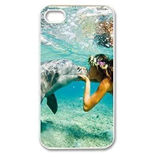 UNI-BEE PHONE CASE For Iphone 4 4S case cover -Dolphins Art Pattern-CASE-STYLE 8
