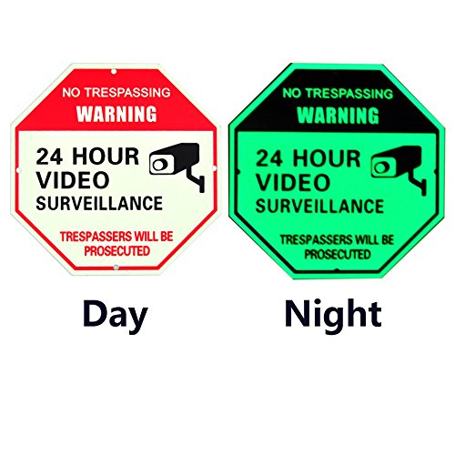 (Obeauty 2 Pieces of Set Free Installation -24 Hour Video Surveillance Sign-1mm Thick Rust-Free Aluminum -Glow in The Dark Sign -Trespassers Will be prosectued-5.9x5.9 inch)