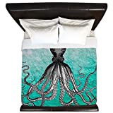 CafePress - Ombre Vintage Nautical Octopus Watercol - King Duvet Cover, Printed Comforter Cover, Unique Bedding, Luxe