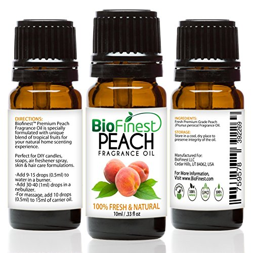 Fresh Peach Fragrance Oil - BioFinest Peach Fragrance Oil - 100% Pure & Natural - Fresh Home Scent - Air Refresher - Relaxing Aromatherapy - Skin and Hair Care - FREE E-Book (10ml)