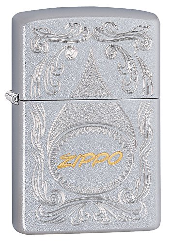 Zippo Two Toned Satin Chrome Pocket Lighter
