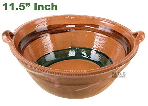 "Cazuela De Barro 11.5"" Lead Free Mexican Clay Traditional Casserole Decorative Artisan (Mexican Pottery Lead)"