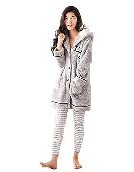 pijamas de invierno con capucha mujer conjunto de manga larga espesar 2 piezas de terciopelo encantador