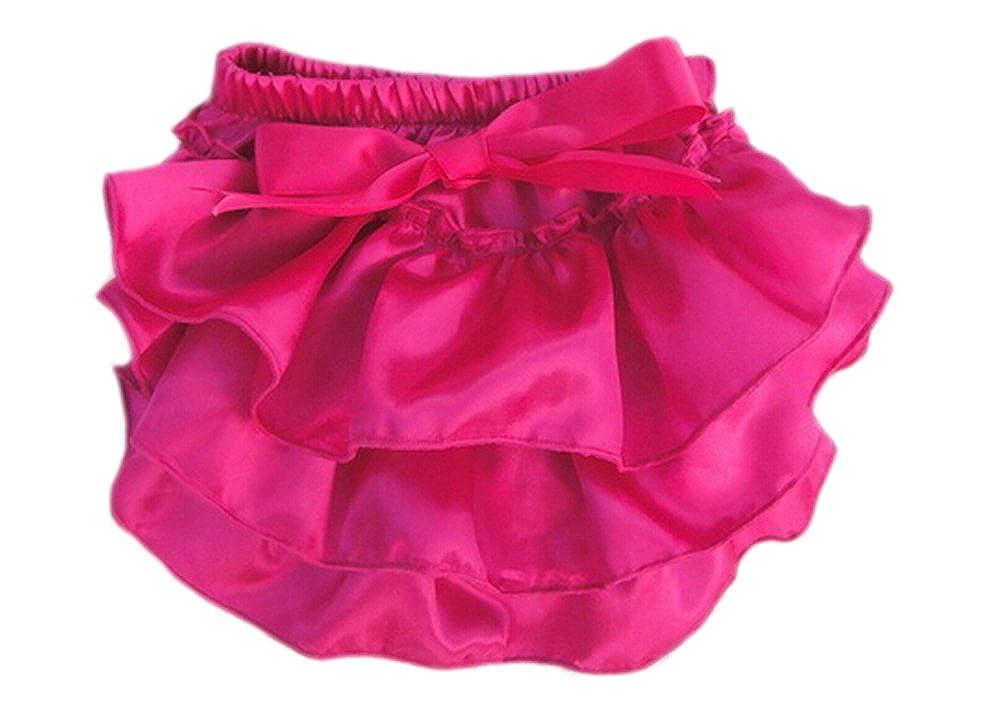 DELEY Toddler Filles solide en satin à volants Culotte Slips Bloomers bébé Nappy Couvre-couches