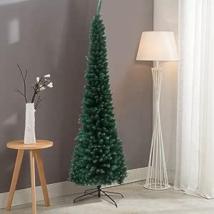cnnIUHA Fir Pencil Artificial Christmas Tree 7.5 Feet with Foldable Stand, Premium Hinged Fir ...