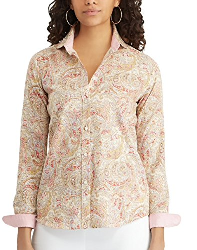 Chaps Women's Button-Down Shirt (Tan Paisley, Medium)