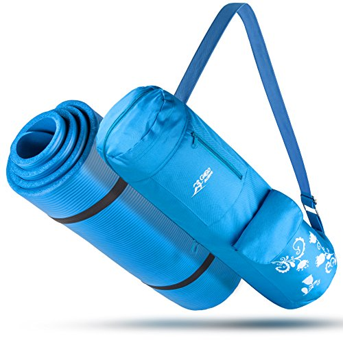 Go Go Active High Density Thick Mat, All-Purpose, Durable and Comfortable NBR Foam Yoga Mat with Carrying Strap and Matching Bag, Blue